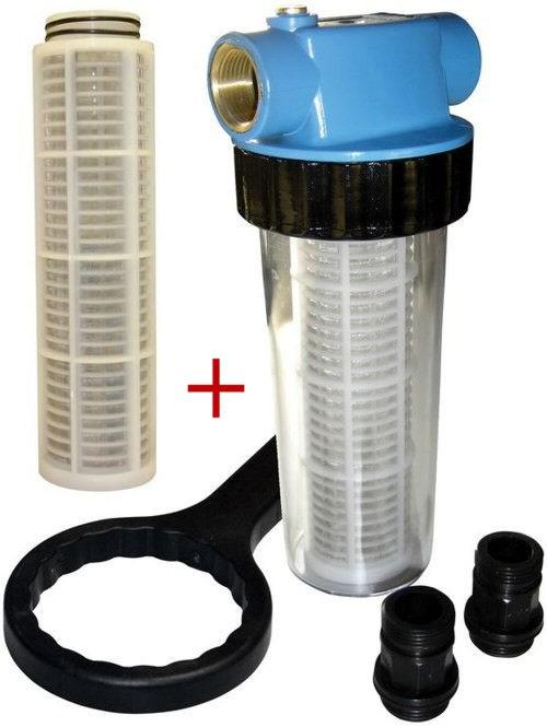 Filter + 2 Filterkartuschen Einsätze (lang) für Hauswasserwerke 94462+63